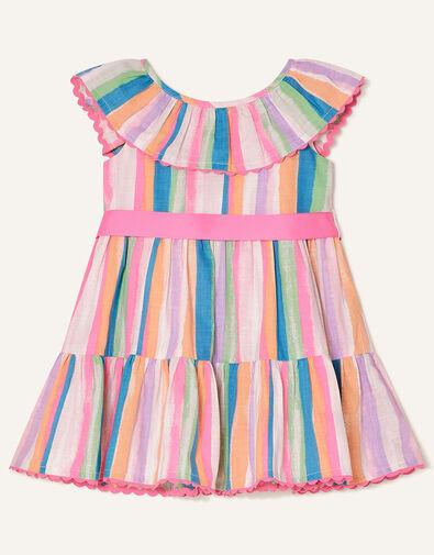 Baby Painterly Stripe Frill Dress  Multi, Multi (MULTI), large