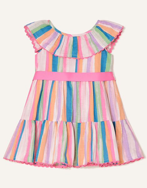 Baby Painterly Stripe Frill Dress  Multi, Multi (MULTI), large