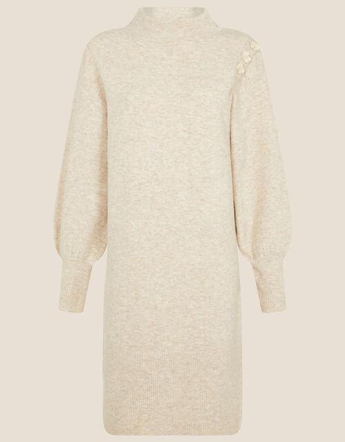 Carys Button Shoulder Knit Dress, Camel (OATMEAL), large