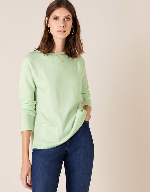 Pocket Detail Knit Jumper, Green (GREEN), large