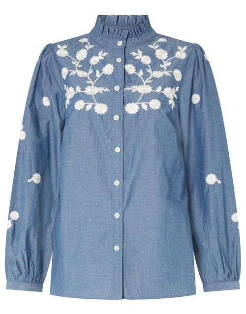 Floral Embroidery Top in Pure Cotton, Blue (BLUE), large