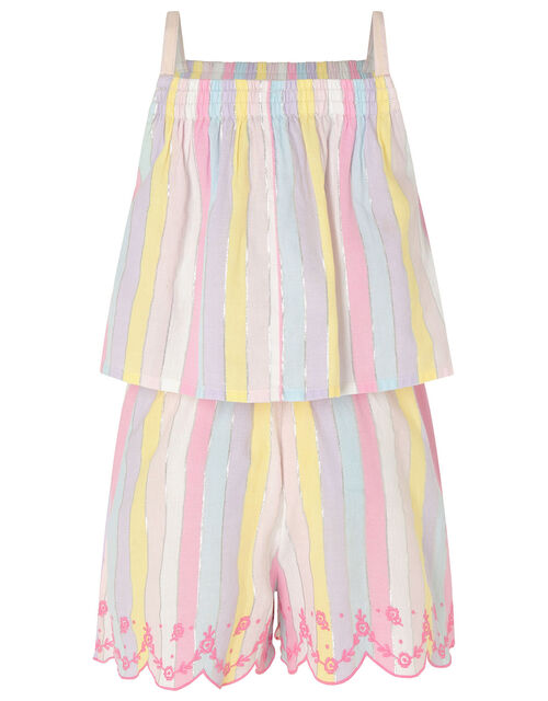 Rainbow Shimmer Stripe Playsuit, Multi (MULTI), large