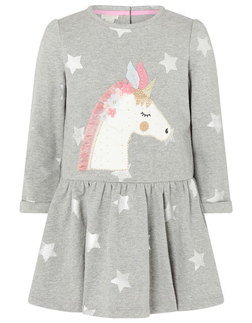 Baby Unicorn Sweat Dress in Pure Cotton, Grey (GREY), large