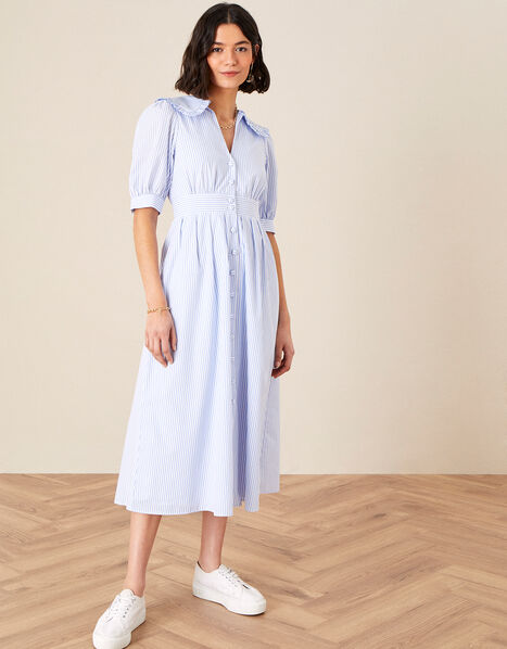 Frill Collar Stripe Poplin Dress Blue, Blue (BLUE), large