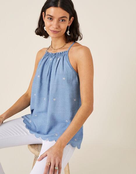 Scallop Cami in LENZING™ TENCEL™ Blue, Blue (BLUE), large