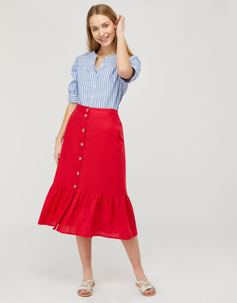 Monika Tiered Midi Skirt in Pure Linen Red, Red (RED), large