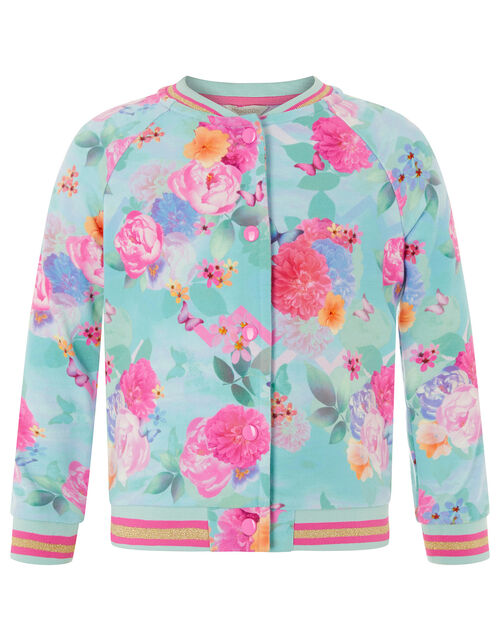 Floral Print Bomber Jacket, Blue (TURQUOISE), large