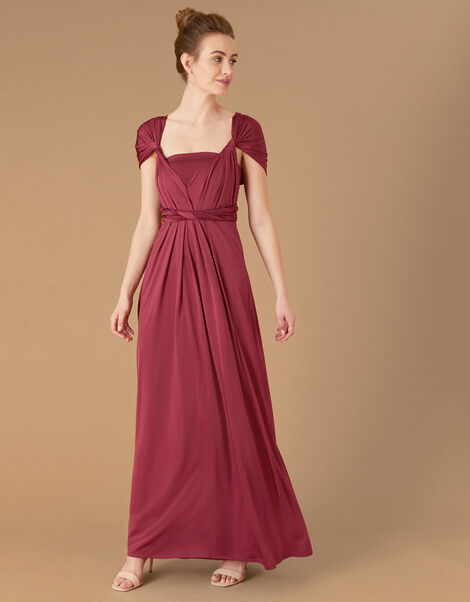 Tallulah Twist Me Tie Me Jersey Bridesmaid Dress Red, Red (BURGUNDY), large