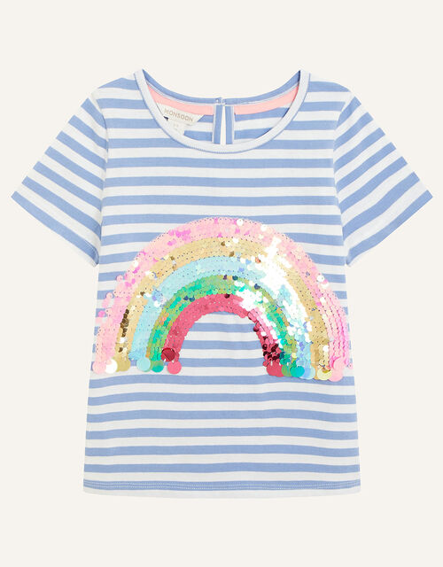 Sequin Rainbow Stripe T-Shirt, Blue (BLUE), large