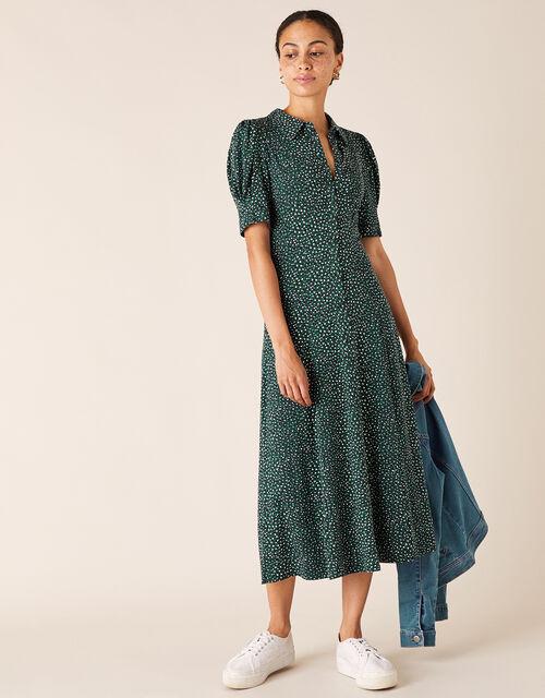 Ditsy Floral Midi Shirt Dress, Green (GREEN), large