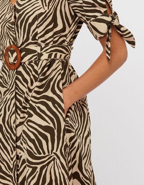 Zadie Zebra Print Dress     , Brown, large