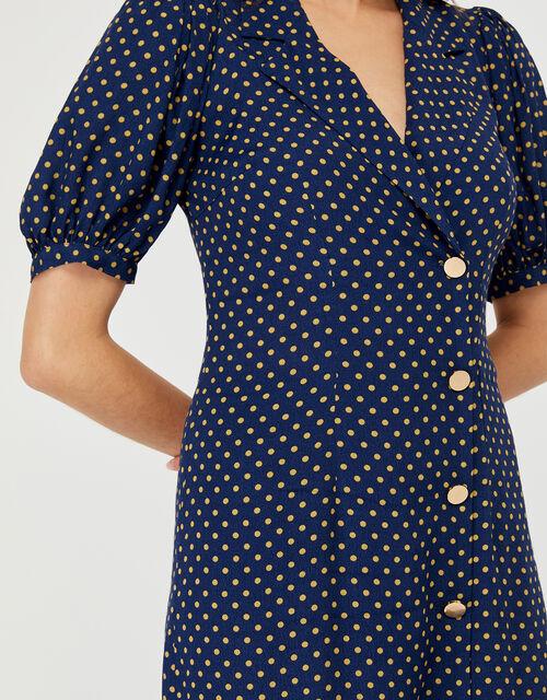 Livvy Spot Print Dress, Navy, large