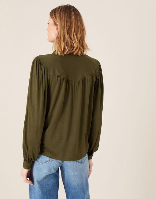 Penny Long Sleeve Shirt with LENZING™ ECOVERO™, Green (KHAKI), large