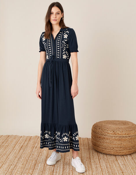 Heritage Embroidered Maxi Shirt Dress Blue, Blue (NAVY), large