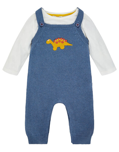 Dino Knit Dungarees Blue, Blue (BLUE), large