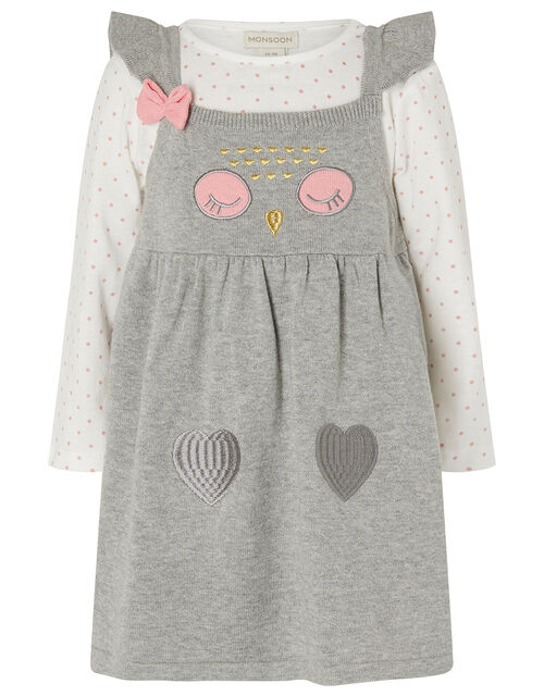 Newborn Baby Owl Knit Dress and Top Set, Grey (GREY), large
