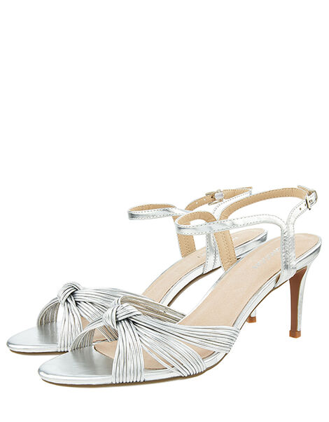Kitty Knot Heeled Sandals Silver, Silver (SILVER), large