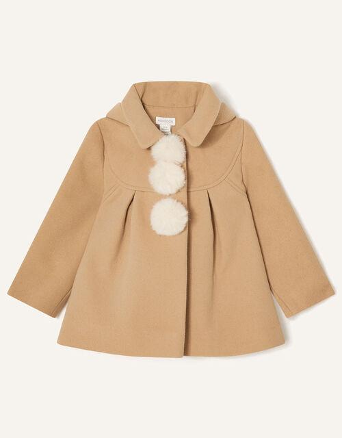 Baby Pom-Pom Hooded Coat, Camel (CAMEL), large