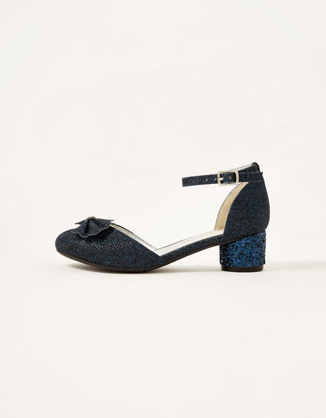 Glitter Bow Heel Shoes Blue, Blue (NAVY), large