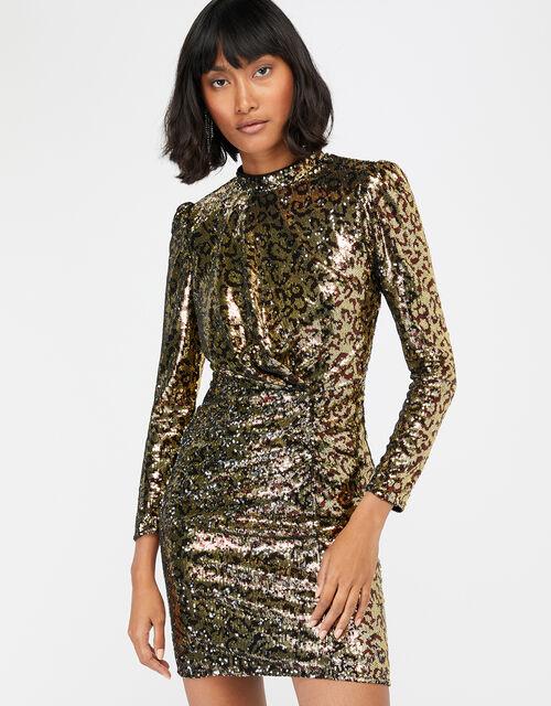Tory Leopard Sequin Short Dress, Gold (GOLD), large