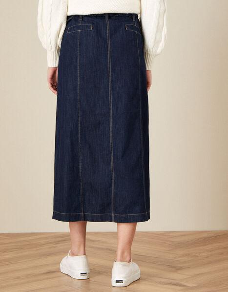 Nella Denim Plaited Belt Midi Skirt Blue, Blue (DENIM BLUE), large