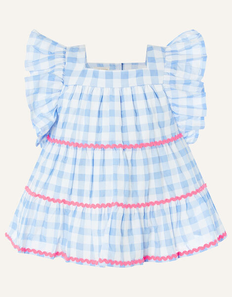 Gingham Woven Top Blue, Blue (BLUE), large
