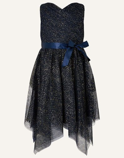 Twilight Hanky Hem Dress Blue, Blue (NAVY), large