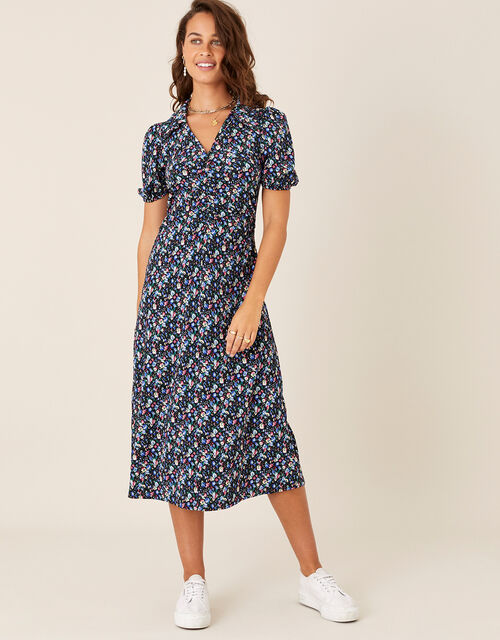 Floral Print Jersey Midi Dress, Black (BLACK), large