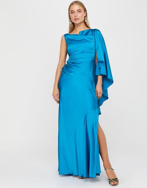 Cobie Satin Cape Maxi Dress Blue, Blue (BLUE), large