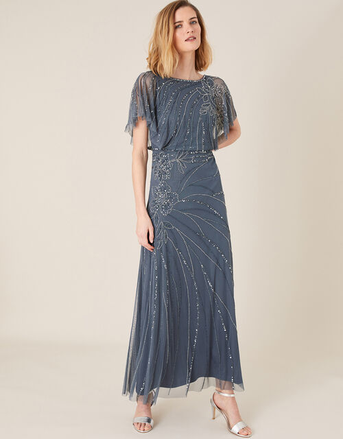 Autumn Floral Embellished Maxi Dress, Blue (BLUE), large