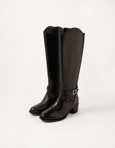 Lisa Leather Buckle Riding Boots Black, Black (BLACK), large