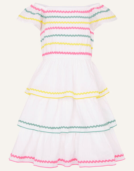 Fiesta Ricrac Dress in Organic Cotton Ivory, Ivory (IVORY), large