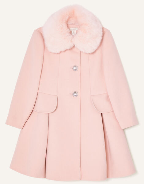 Frill Bow Back Coat Pink, Pink (PALE PINK), large
