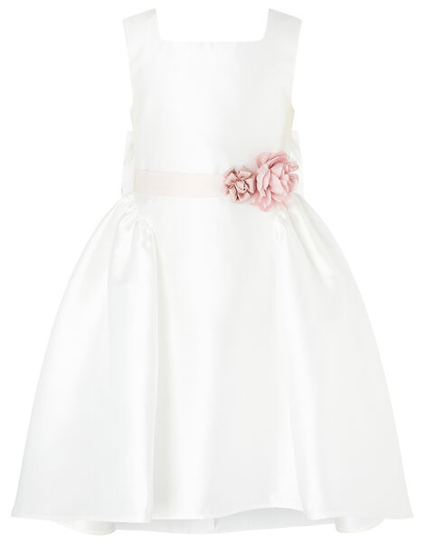 Cynthia Corsage Belt Dress Ivory, Ivory (IVORY), large
