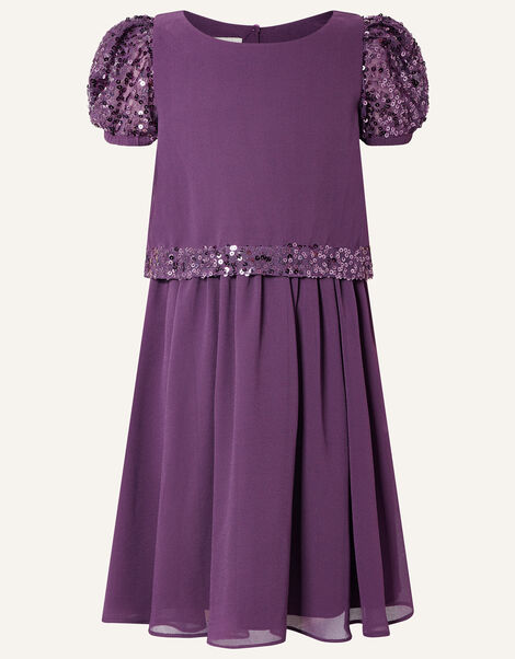 Sequin Trim Dress Purple, Purple (PURPLE), large
