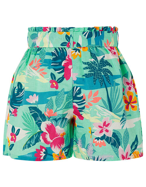 Petunia Floral Shorts in Linen and Organic Cotton, Green (GREEN), large