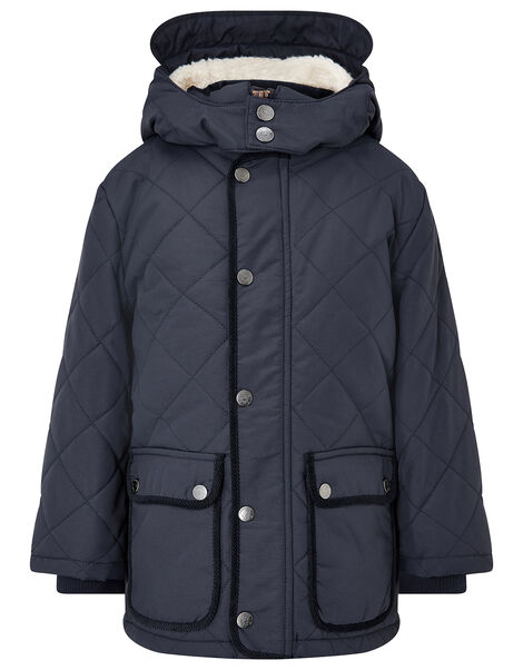 Quilted Coat with Hood Blue, Blue (NAVY), large