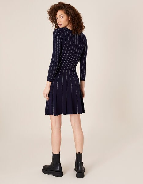 Linear Stitch Fit-and-Flare Dress Blue, Blue (NAVY), large