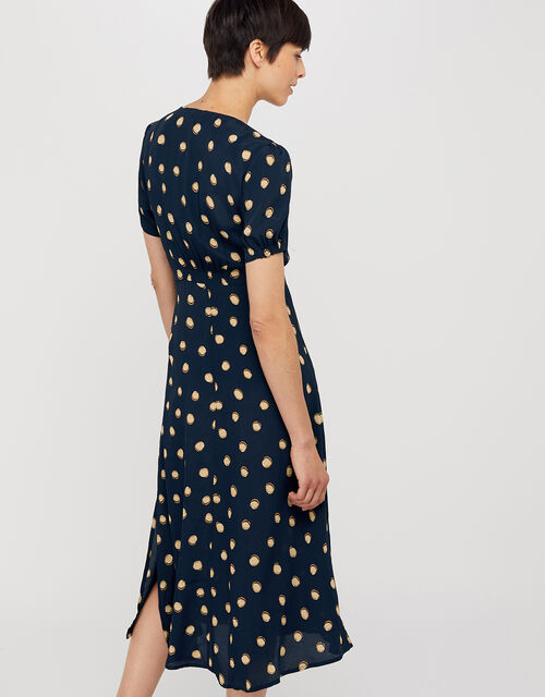 Percy Spot Print Button Dress, Navy, large