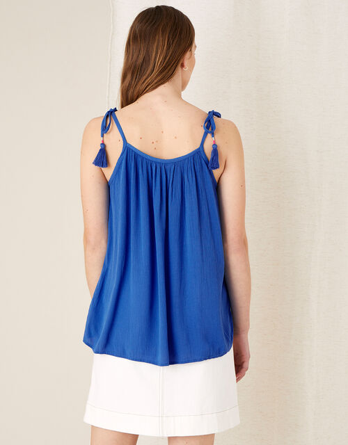 Embroidered Cami Top in Pure Cotton, Blue (BLUE), large