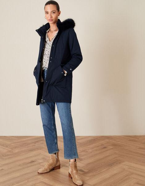 Muriel Fluffy Hood Parka Coat Blue, Blue (NAVY), large