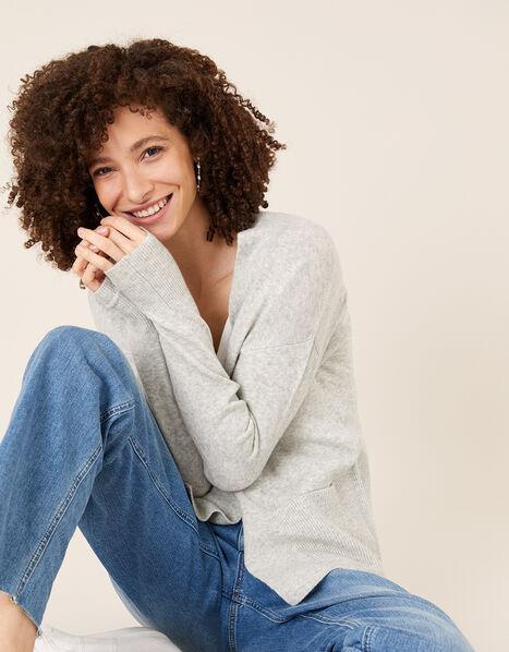 Wide Pocket Knit Cardigan Grey, Grey (GREY MARL), large