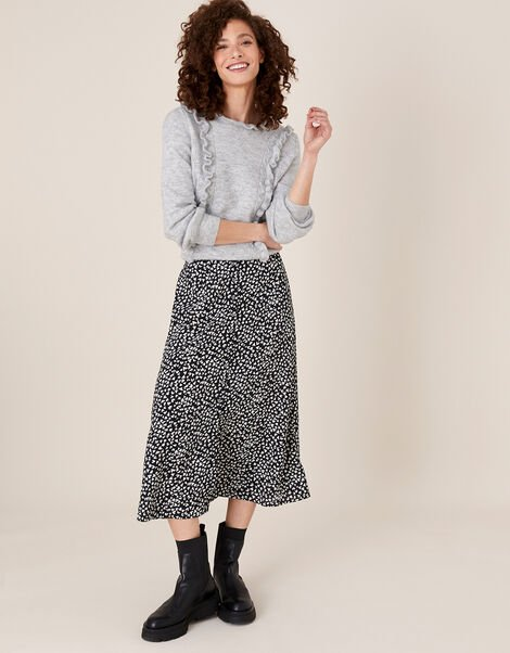 Monochrome Heart Midi Skirt Black, Black (BLACK), large