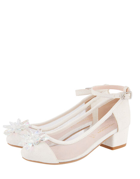 Princess Crystal Shimmer Heeled Shoes Ivory, Ivory (IVORY), large