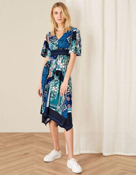 Hartley Mix Print Hanky Hem Dress Blue, Blue (NAVY), large