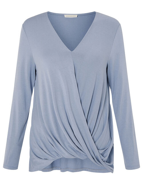LOUNGE Wendy Jersey Wrap Top, Blue (BLUE), large