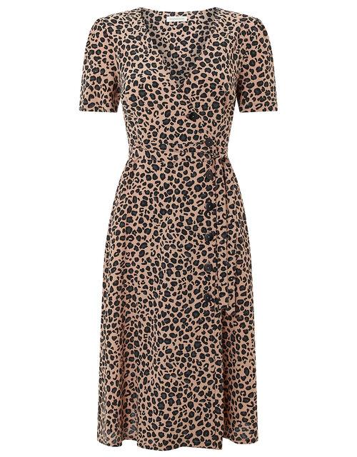 Margot Animal Print Button Dress, Pink, large