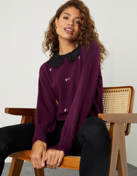 Collar All-Over Embellished Jumper Red, Red (BERRY), large