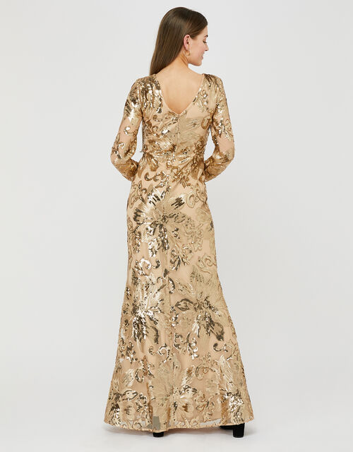 Rose Sequin Maxi Dress, Gold (GOLD), large