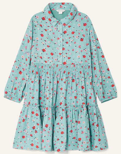 Ditsy Floral Tiered Shirt Dress Blue, Blue (AQUA), large